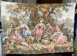 Huge Antique French Tapestry Wall Hanging Aubusson Style 130 By 185 Cm