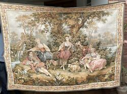 Huge Antique French Tapestry Wall Hanging Aubusson Style 152 By 210 Cm