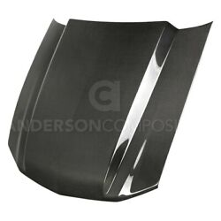 For Ford Mustang 10-12 Anderson Composites Type-cj Style Gloss Carbon Fiber Hood