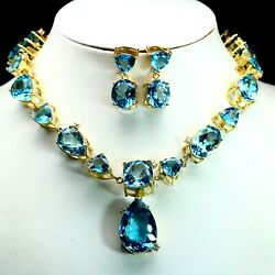 Natural Vvs Sky Blue With White Topaz Earrings With Necklace 925 Silver