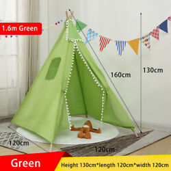 Large Kids Play Tents Tipi Indian Play House Cotton Canvas Tent Girl Gift