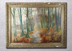 French Vintage Impressionist School Forest Landscape Oil Painting Xixth Signed