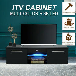 Luxury High Gloss Tv Stand Unit Cabinet Console Table With Colorful Led Lights