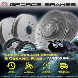 Front Drilled Rotors Pads And Rear Drums Shoes For 2002 Chevrolet Express 3500 Srw