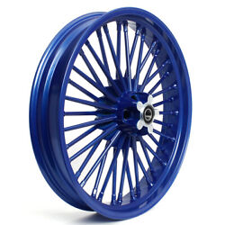 21 X 3.5 Blue Front Wheel 36 Fat Spokes For Sportster Dyna Touring Softail