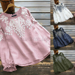 Women Linen Cotton Embroidered Shirts Tops Ladies Ruffle Blouse T Shirt Pullover