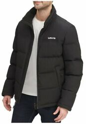 Menand039s Arctic Cloth Stand Collar Logo Puffer Jacket Coat Size Xl Black