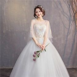 White Illusion Wedding Dresses Delicate Laces Patterns Flare Sleeve O Neck Gowns