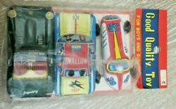 Vintage Made In Japan Tin Lithograph New Green Jaguar 4 Friction Toy Cars