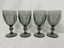 Libbey Gibraltar Gray Smoke 6 3/4 Water Goblets - Set Of 4