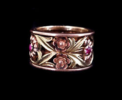 Antique Nouveau14k Rose Yellow Gold Black Hills Floral W Rubies Thick Ring S6