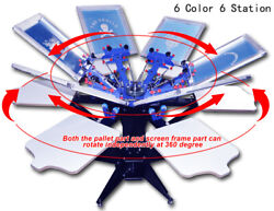 Diy 1 Pc 6 Color 6 Station Accurate Adjustable Silk Screen Printing Machine New