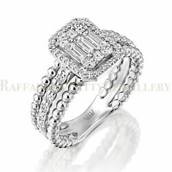 Baguette And Round Diamond Ring 14k Heavy White Gold Natural .71 Ct Motherand039s Gift