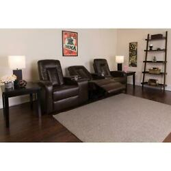 Eclipse Series 3-seat Reclining Brown Leathersoft Theater Seating Unit With Cup