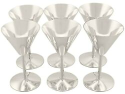 Sterling Silver Cocktail Glasses Set Of Six Art Deco Style Vintage 1952
