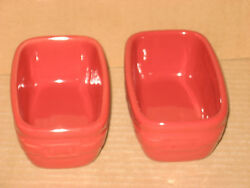 Longaberger Tomato Red Pottery Dash Prep Bowls Four Mint In Boxes Never Used