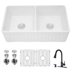 Farmhouse Double Bowl Ceramic Kitchen Sink With Pull Out Kitchen Faucet Black