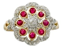 Antique French 0.75ct Ruby And 0.52ct Diamond 18ct Yellow Gold Dress Ring