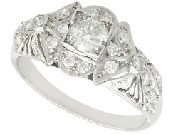Vintage 1950and039s 0.65 Ct Diamond And Platinum Dress Ring Size M