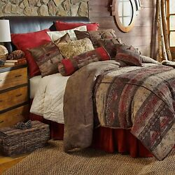 Hiend Accents Sierra Lodge Chenille And Faux Suede Bedding Comforter Set, Queen, R