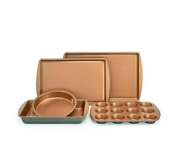 5 Pc Copper Bakeware Set Nonstick Baking Sheet Muffin Loaf Square Round Pan Crux