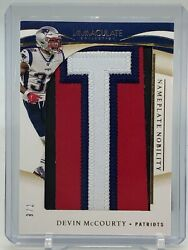 2020 Immaculate Collection Devin Mccourty Letter Patch Nobility Nameplate 7/8