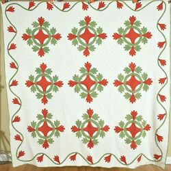 1880's Vintage Red And Green Oak Reel Applique Quilt Best Ever Hand Quilting