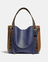 SALE: COACH Harmony Hobo In Colorblock With Snakeskin Detail Pewter Cadet Multi $500.00