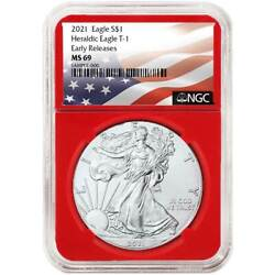 2021 1 Type 1 American Silver Eagle Ngc Ms69 Flag Er Label Red Core