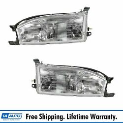 Headlights Headlamps Left And Right Pair Set New For 92-94 Toyota Camry