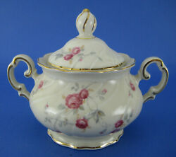 Hutschenreuther Covered Sugar Bowl Pink Roses Decorative Edge Selb Germany