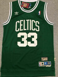 NEW #33 Larry Bird Men#x27;s Vintage Boston Celtics Color GREEN
