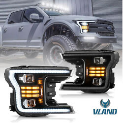 2018-2020 F-150 Upgraded Black Headlight Led Drl Sequential Turn Signal Full Set