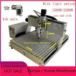 2200w Cnc 6090 4 Axis Wood Router 1500w Metal 3d Milling Engraving Machine Pcb