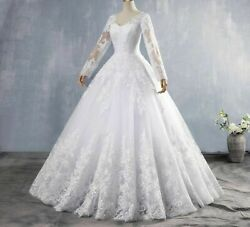 Crystal Weddings Dress Embroidered Organza Tulle Long Sleeve Lace Beading Bottom
