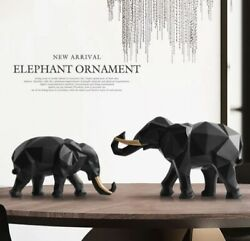 Elephant Figurine 2/set Resin For Home Office Hotel Decoration Tabletop Animal M