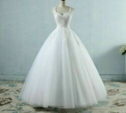 Wedding Vintage Dresses Gown Pearls Lace Up Sleeveless Embroidered Organza Tulle