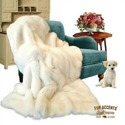 Thick Faux Fur Throw Blanket Bedspread Comforter White Bunny Fur Minky Lined
