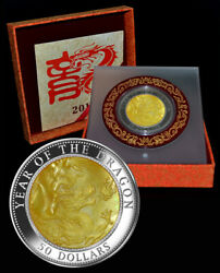 Fiji 50 2012 5oz Fine Silver Mother Of Pearl And039lunar Year Of The Dragonand039 Mtg.888