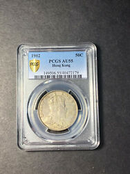 Hong Kong Edward Vii Silver 50 Cents 1902 About Uncirculated Pcgs Au55