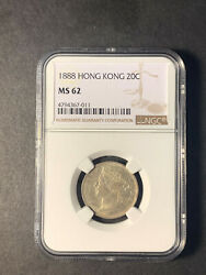 Hong Kong Queen Victoria Silver 20 Cents 1888 Uncirculated Ngc Ms62