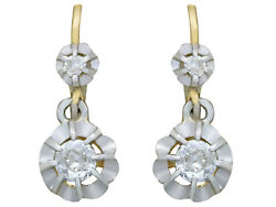 Antique French 1930s 0.41 Ct Diamond And 18carat Yellow Gold Drop Earrings