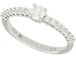 Contemporary 0.46 Ct Diamond And 18carat White Gold Dress Ring Size M 1/2