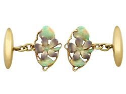 Antique Enamel And 15ct Yellow Gold Cufflinks