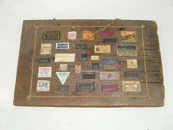 Vintage Clothing Labels Artwork Wall Hanging 18 X 11 1 / 2 On Wood