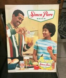 Vintage Simon Pure Beer Black Americana Advertising Sign 6 Pack Can Buffalo Ny