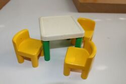 Little Tykes Tikes Vintage Dollhouse Furniture Table 3 Chairs Doll House