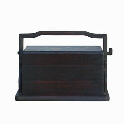 Traditional Vintage Chinese Multi Tray Wood Basket Box Ws1055