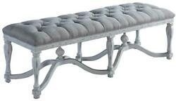Bed Bench King Henry White Ornate Wood Stretcher Finials Tufted Gray Linen