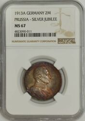 1913a Germany 2 Mark Prussia-silver Jubilee Ms67 Ngc 943603-37